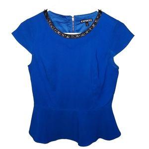 EXPRESS Peplum Short Sleeve Royal Blue Blouse